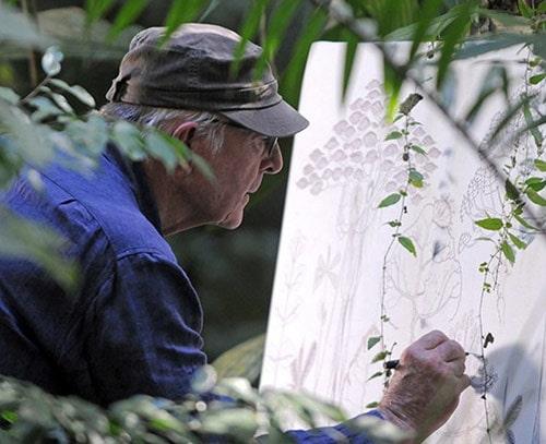 Francis Halle qui dessine